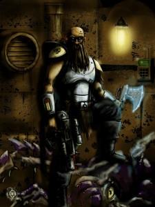 un scout du chapitre space marine des Space Wolves